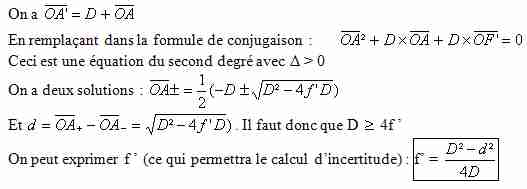 Calcul distance focale